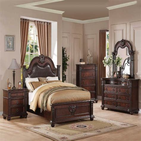 daruka cherry formal traditional antique queen bed pcs