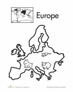 color  continents europe worksheet educationcom