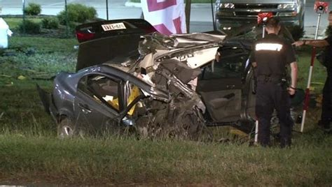 Woman killed in tragic crash that split her car in half