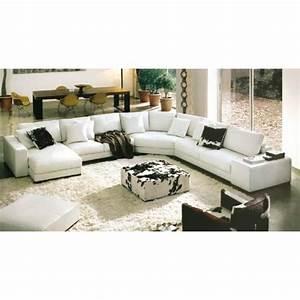 Canapé Cuir Panoramique : canap d 39 angle panoramique cuir blanc dreams achat vente canap sofa divan cuir bois ~ Teatrodelosmanantiales.com Idées de Décoration