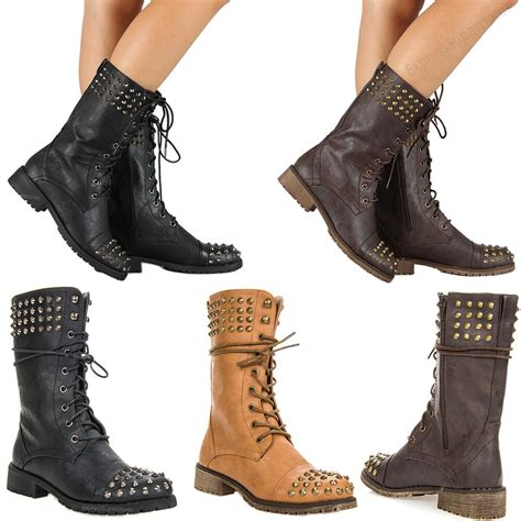 New Womens Military Combat Studded Boot Lace Women