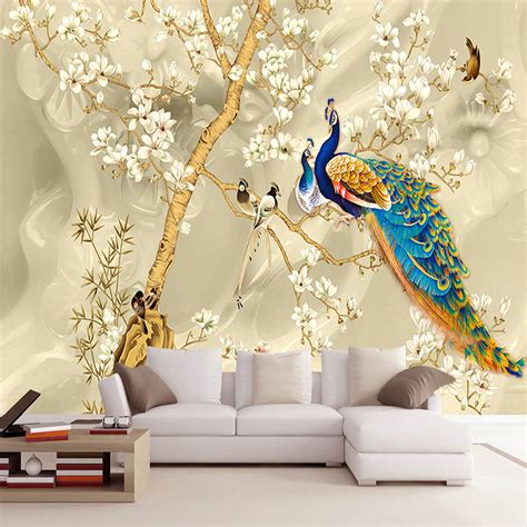 Custom Mural Wallpaper 3d Stereo Magnolia Flowers Peacock