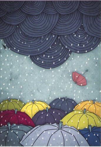 Umbrellas and Rain Illustrations