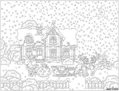 santa claus   reindeer sled christmas adult coloring pages