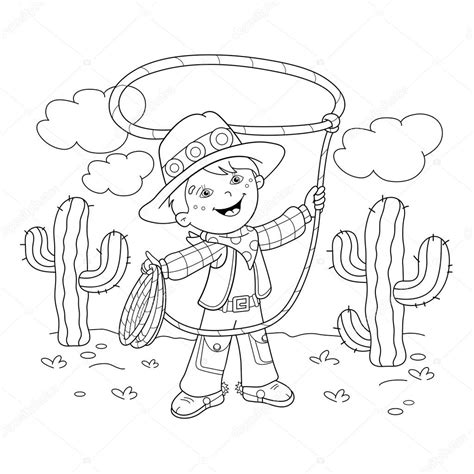 Cowboy Kleurplaat by Coloring Page Outline Of Cowboy With Lasso Stock