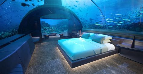 world s glass underwater hotel suite at conrad maldives