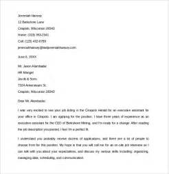 Simple Cover Letter Template Word Sle Executive Assistant Cover Letter 9 Free Documents In Pdf Word