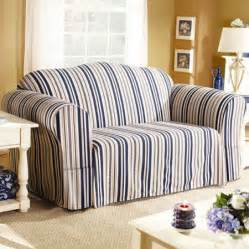 sure fit indigo stripe sofa slipcover walmart com