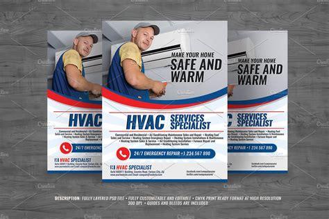 hvac services flyer flyer templates creative market