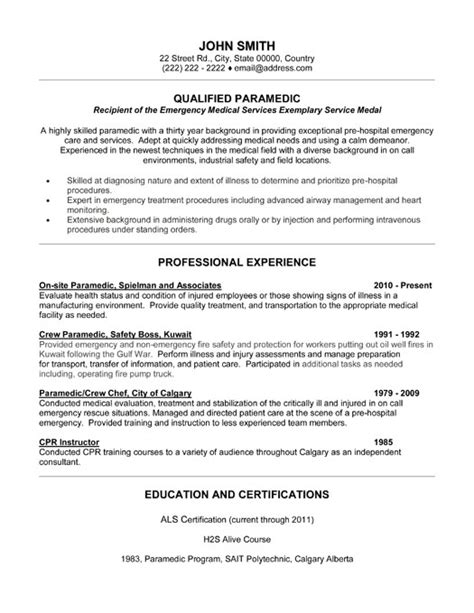 Emt Resume Cover Letter Template by Qualified Paramedic Resume Template Premium Resume Sles Exle