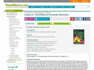 The Effects Of Character Decisions Lesson Plan For 4th