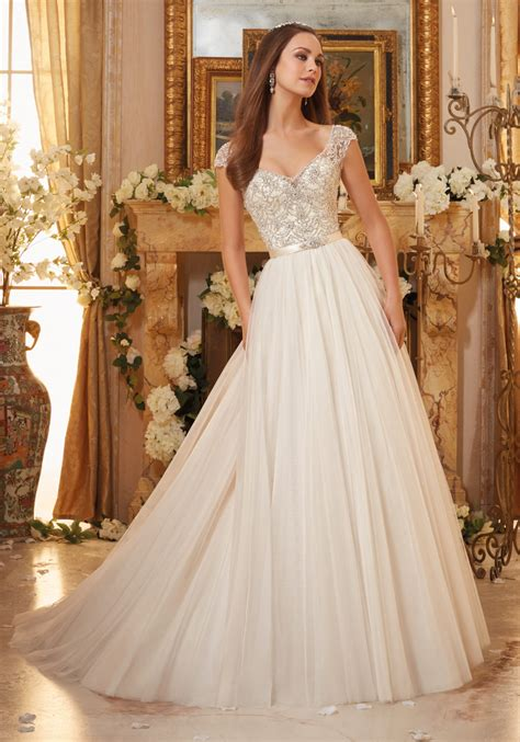 morilee wedding dress embroidery on tulle gown wedding dress style