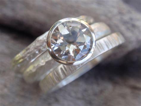 Engagement Ring Wedding Band Set Of 3 Stacking Rings In