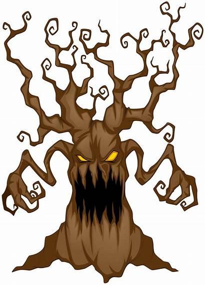 Scary Halloween Tree Clip Clipart Dark Transparent