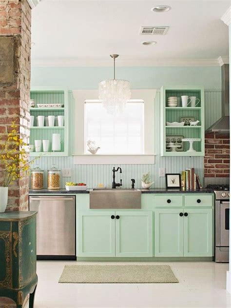 Green Vintage Kitchen Design With Green Shaker Kitchen