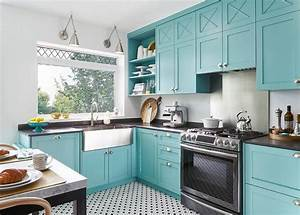 blue kitchen cabinets with black quartz countertops With best brand of paint for kitchen cabinets with metal arrow wall art