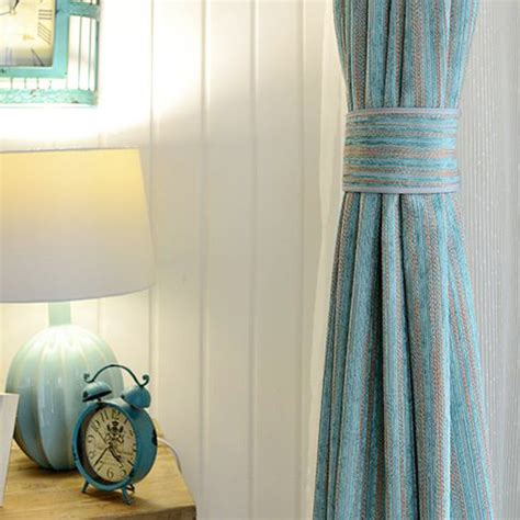 teal polyester jacquard striped contemporary patterned curtains  bedroom