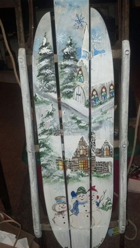 vintage hand painted sled decorative painting