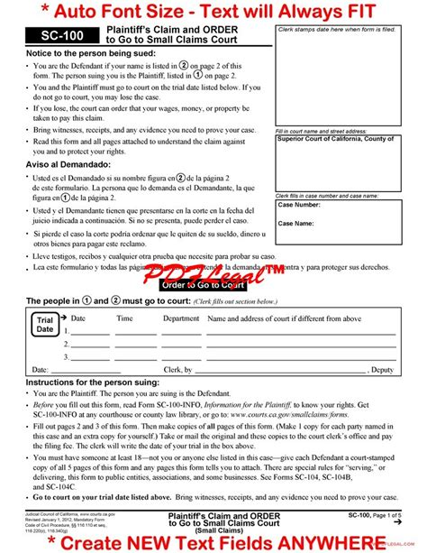 small claims california judicial council forms