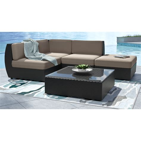 chaise pc corliving seattle curved 5 pc sectional with chaise lounge