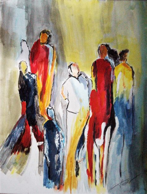 Bilder In Acryl by Abstrahierte Ansammlung Personen In Acryl Auf Leinwand