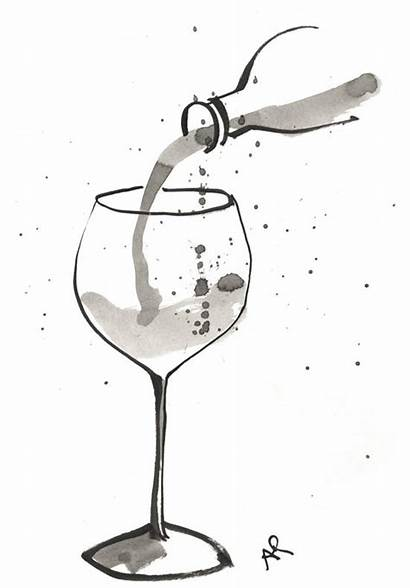 Wine Bottle Tattoo Glass Drawing Illustration Pouring