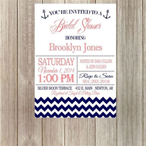 diy printable nautical bridal shower invitation with chevron printable with anchor wedding