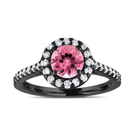 vintage style engagement ring pink tourmaline and diamonds bridal ring wedding ring 1 54