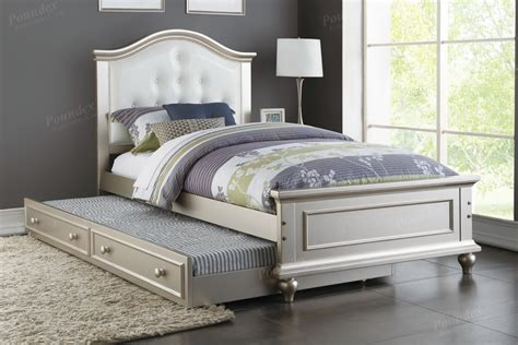 Twin Platform Bed With Twin Trundle White Finish 9378px