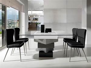 Table Carree Blanc Laqué : table manger carr e en bois laqu et verre longueur ~ Teatrodelosmanantiales.com Idées de Décoration