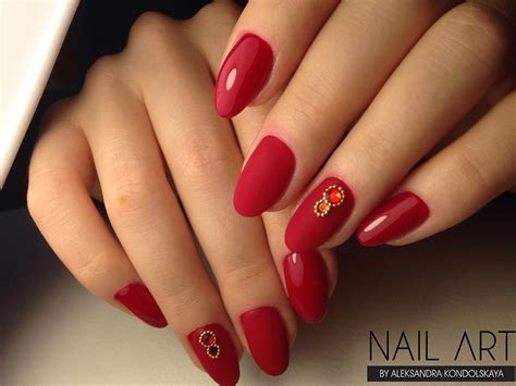 Matte And Shiny Red Nails With Rhinestones
