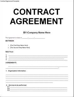 Cover Letter For Contract Agreement by Agreement Templates Free Word Templates General