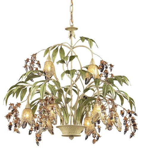 Hawaiian Chandelier by Elk Lighting 86054 Huarco Seashell 8 Light Chandelier