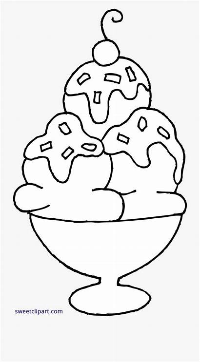 Ice Cream Sundae Coloring Clipart Clip Drawing