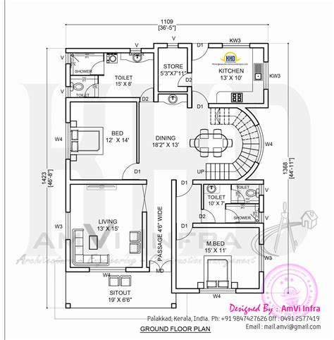 elevation   floor plan kerala home design