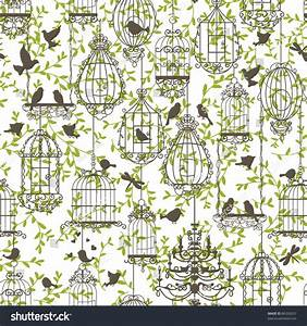 Vintage Birds Birdcages Collection Pattern Wallpaper Stock ...