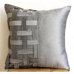 decorative throw pillow covers couch pillow sofa 20x20 silver