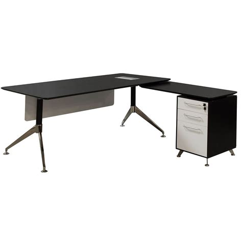 black and white desk l morgan director right return melamine l shape desk black