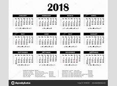 Calendário anual preto 2018 Feriados federais, a lua e os