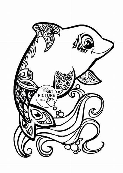 Dolphin Coloring Pages Animal Dolphins Cuties Printables