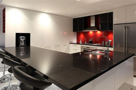Black, White, And Red Kitchen