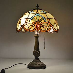 12 inch tiffany table lamp stained glass european baroque With sheldon 6 light table lamp