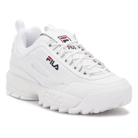 womens sneakers size 11 fila womens white disruptor low trainers 10101531fg