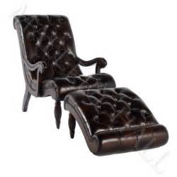 brown tufted leather chaise lounge with ottoman ebay