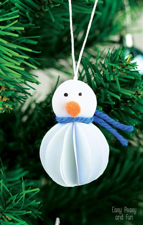 paper ornaments simple snowman ornament kid made christmas ornament easy peasy and fun