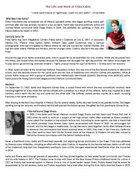 the life and work of frida kahlo reading comprehension worksheet biography