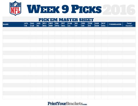 nfl week  picks master sheet grid