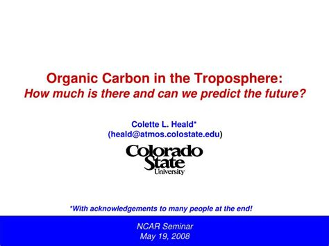 We Predict The Key Looks For: Organic Carbon In The Troposphere: How Much Is There