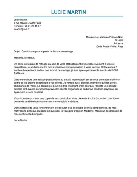 lettre de motivation auxiliaire de bureau lettre de motivation femme de ménage exemple lettre de