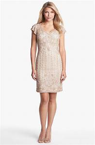 J Kara Embellished Mesh Sheath Dress Petite In Gold